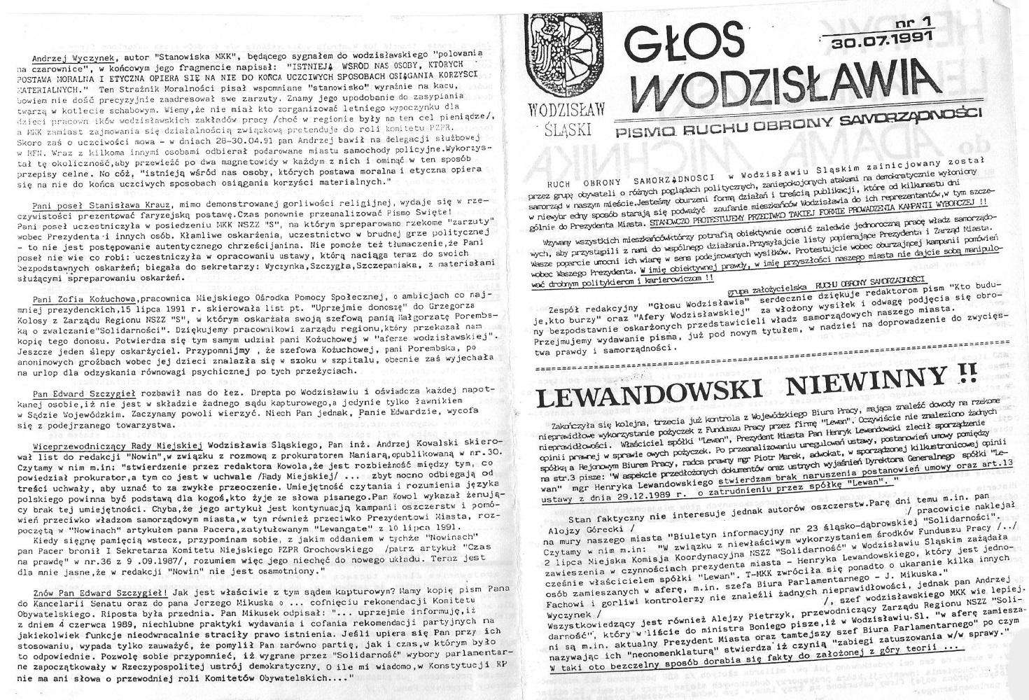 1991-07-30_Glos_Wodzislawia_1 Głos Wodzisławia