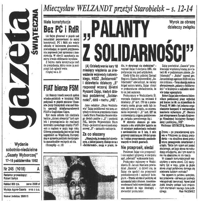1992-10-17_GW_Palanty_z_Solidarnosci Pierwszy więzień polityczny III R.P.
